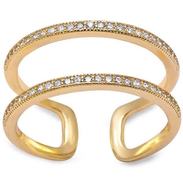 Yellow Gold Plated Double Band Cz .925 Sterling Silver Ring Sizes 5-10