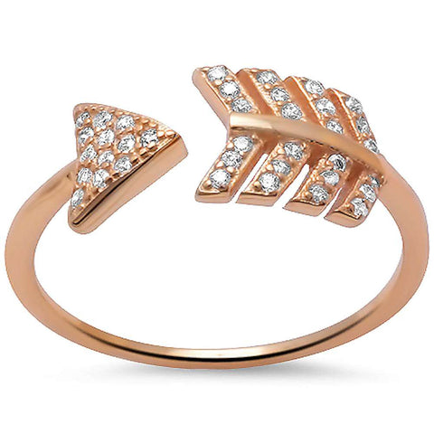 Rose Gold Plated Arrow Cz .925 Sterling Silver Ring Sizes 5-10