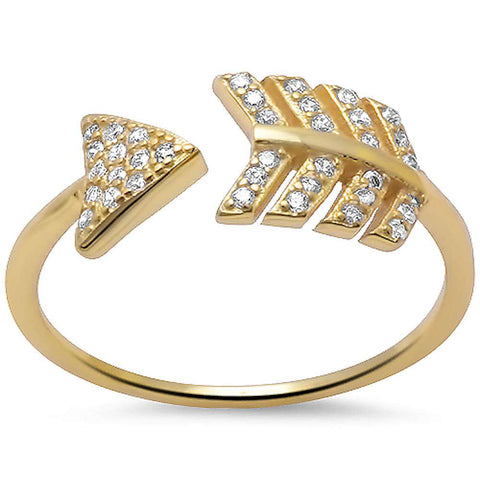 Yellow Gold Plated Arrow Cz .925 Sterling Silver Ring Sizes 5-10