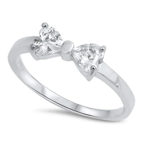Heart Cz Ribbon Bow  .925 Sterling Silver Ring Sizes 4-10