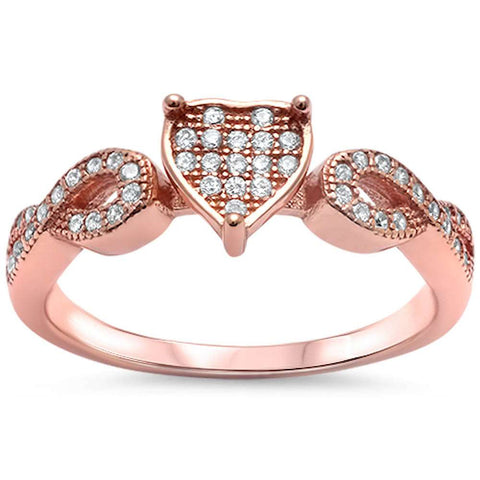 Rose Gold Plated Cz Heart Infinity Band .925 Sterling Silver Ring Sizes 4-11