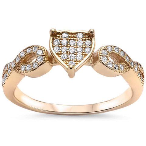 Yellow Gold Plated Cz Heart Infinity Band .925 Sterling Silver Ring Sizes 4-11