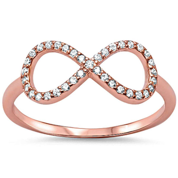 Rose Gold Plated Cz Infinity .925 Sterling Silver Ring Sizes 4-10
