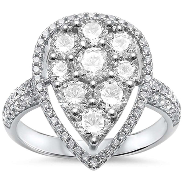 Beautiful Fine Round & Pave Cz  .925 Sterling Silver Ring Sizes 5-11