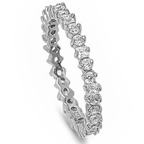 <span>Closeout!</span>Round & Princess Russian Cz Eternity Band .925 Sterling Silver Ring Sizes 4-12