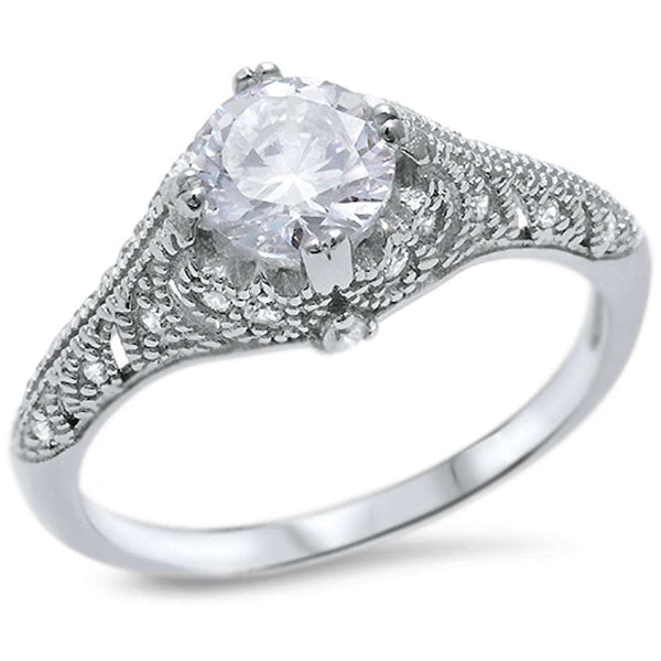 Round Solitaire Cubic Zirconia Engagement .925 Sterling Silver Ring Sizes 5-10