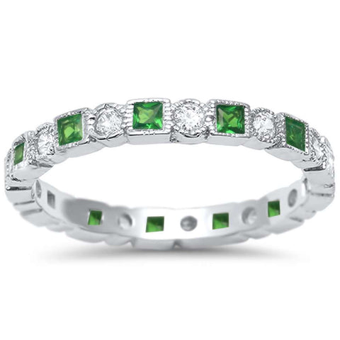 <span>CLOSEOUT!</span> Antique Style Emerald & CZ Stackable Eternity Band .925 Sterling Silver Ring Sizes 4-10