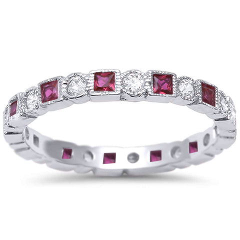 <span>CLOSEOUT!</span> Antique Style Ruby & CZ Stackable Eternity Band .925 Sterling Silver Ring Sizes 4-10