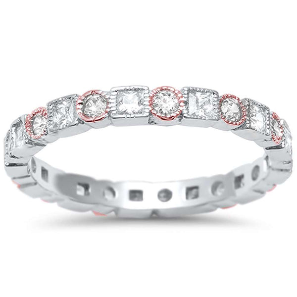 <span>CLOSEOUT!</span>Two Tone Antique Style Bezel Set Eternity Band .925 Sterling Silver Ring Sizes 5-11