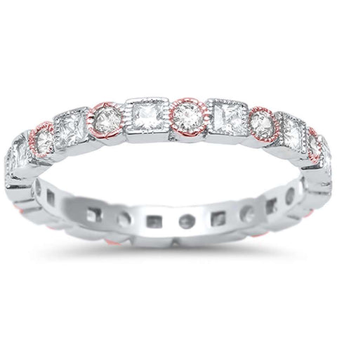 Two Tone Antique Style Bezel Set Eternity Band .925 Sterling Silver Ring Sizes 5-11