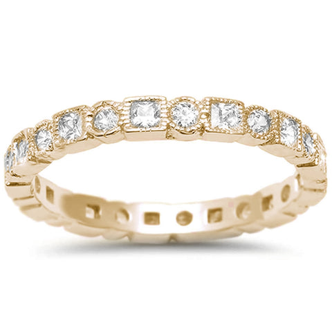 Yellow Gold Plated Antique Style Bezel Set Eternity Stackable .925 Sterling Silver Ring Sizes 4-10