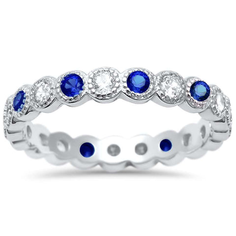 Blue Sapphire & Cz Antique Style Bezel Set Eternity Stackable  .925 Sterling Silver Ring Sizes 4-10