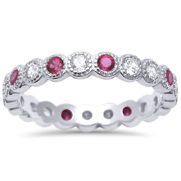 <span>CLOSEOUT!</span> Ruby & Cz Antique Style Bezel Set Eternity Stackable  .925 Sterling Silver Ring Sizes 4-10
