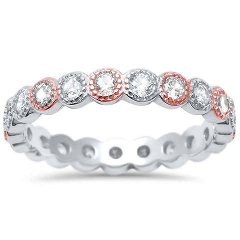 Two Tone Cz Antique Style Bezel Set Eternity Stackable  .925 Sterling Silver Ring Sizes 5-10