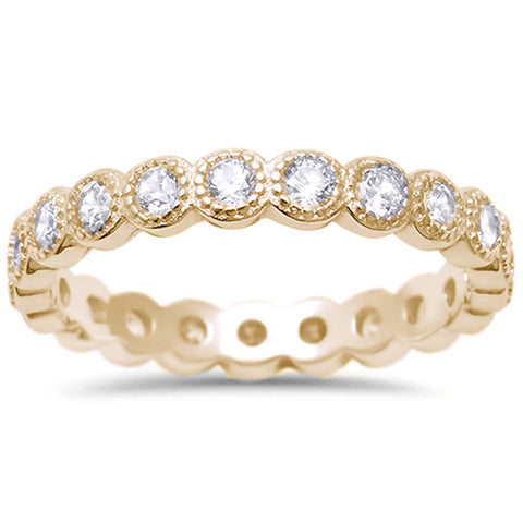 Yellow Gold Plated CZ Antique Style Bezel Set Eternity Stackable  .925 Sterling Silver Ring Sizes 4-10