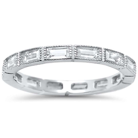 Antique Style Baguette CZ Eternity Stackable Band .925 Sterling Silver Ring Sizes 4-10