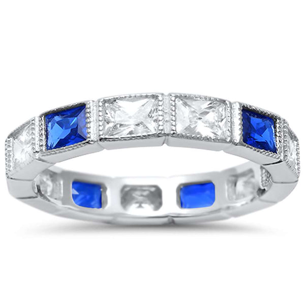 <span>CLOSEOUT!</span>Eternity Rectangle Blue Sapphire and CZ .925 Sterling Silver Ring Sizes 4-10