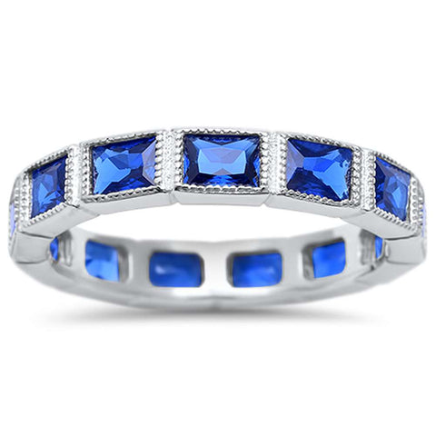 Eternity Baguette Sapphire Stacklable Wedding Band .925 Sterling Silver Ring Sizes 4-10