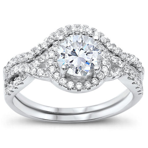 Prong Wedding Set Round CZ .925 Sterling Silver Ring Sizes 5-10