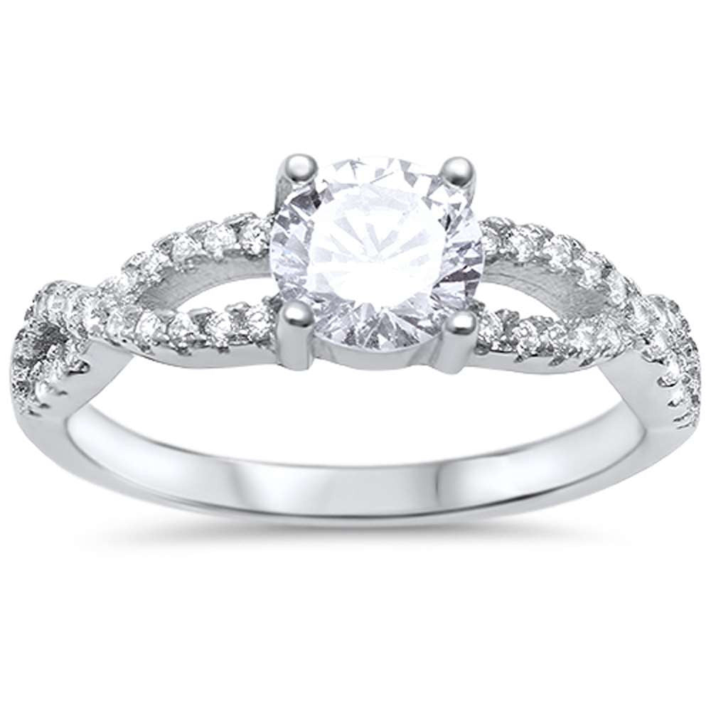 Round Solitaire Engagement Twisted Prong .925 Sterling Silver Ring Sizes 5-10