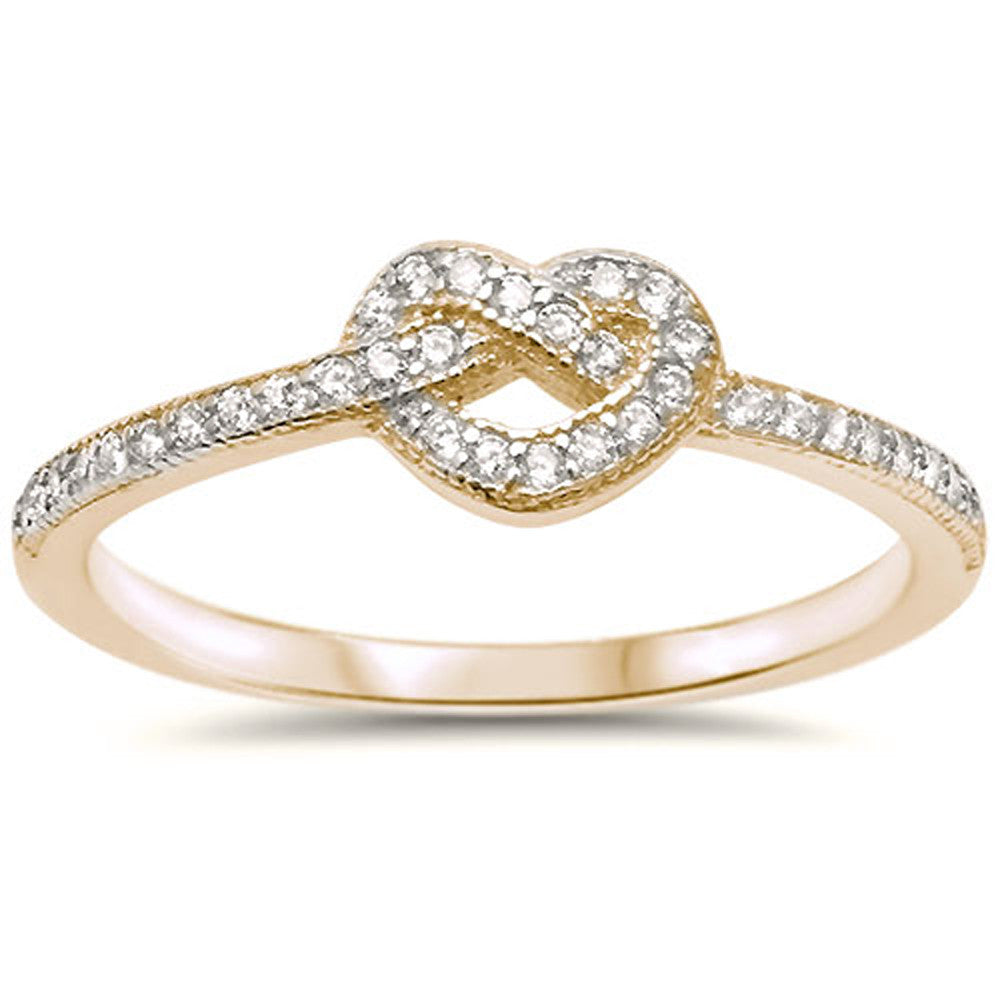 <span>CLOSEOUT!</span>Yellow Gold Plated Heart Love Knot CZ .925 Sterling Silver Ring Sizes 4-10