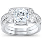 Solitaire Wedding Set Square CZ .925 Sterling Silver Ring Sizes 5-10