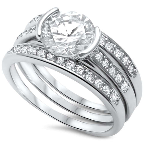 Modern Half Bezel Set Round CZ Three Stone Bridal Set .925 Sterling Silver Ring Sizes 5-11