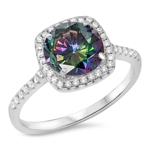 Round Rainbow Topaz & Cz Engagement .925 Sterling Silver Ring Sizes 5-10