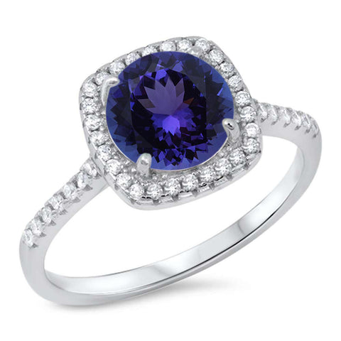 Tanzanite & Cz Engagement .925 Sterling Silver Ring Sizes 5-10