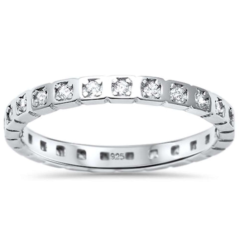 <span>CLOSEOUT!</span> Round Cz Eternity Fashion Engagement Band .925 Sterling Silver Ring  Sizes 4-10