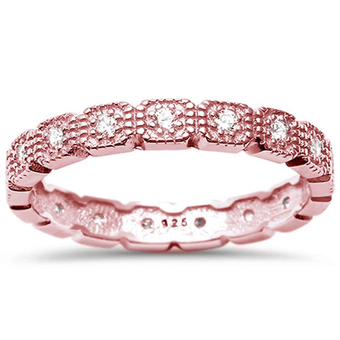 Rose Gold Plated Cz Eternity Band .925 Sterling Silver Ring  Sizes 4-10