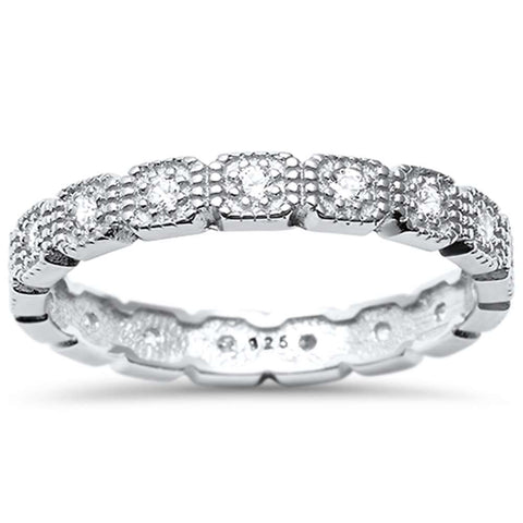 <span>CLOSEOUT!</span>Cz Eternity Band .925 Sterling Silver Ring  Sizes 4-10