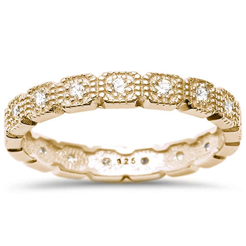 <span>CLOSEOUT!</span>Yellow  Gold Plated Cz Eternity Band .925 Sterling Silver Ring  Sizes 4-10