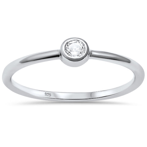 Simple CZ Engagement Ring .925 Sterling Silver Ring Sizes 4-10