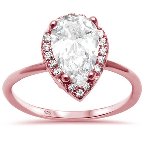 Rose Gold Plated Pear Solitaire Engagement .925 Sterling Silver Ring Sizes 5-10
