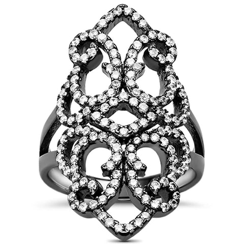 Black Rhodium Plated CZ Filigree Design .925 Sterling Silver Ring Size 8