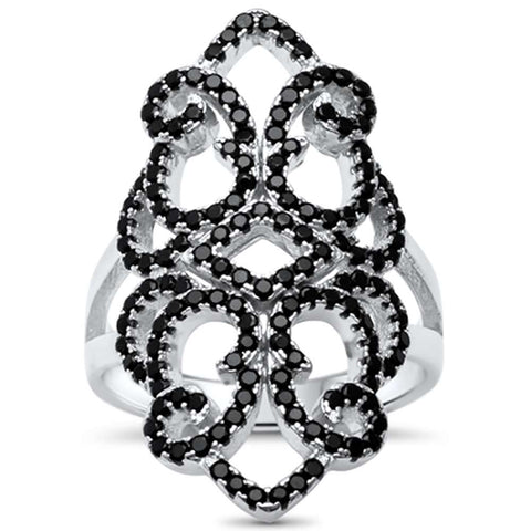 Simulated Black Onyx & Cz Filigree Design .925 Sterling Silver Ring Size 8