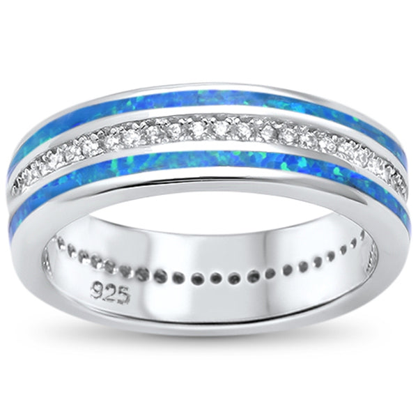 Channel Set Blue Opal Inlay Band .925 Sterling Silver Ring Sizes 5-10