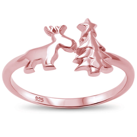Rose Gold Plated Open Christmas Tree & Reindeer .925 Sterling Silver Ring Sizes 4-10