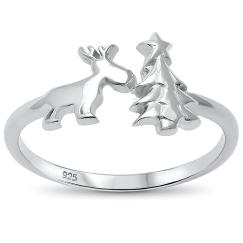 Plain Open Christmas Tree & Reindeer .925 Sterling Silver Ring Sizes 4-10