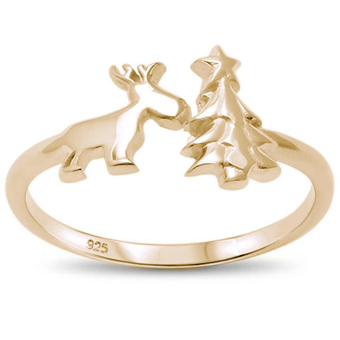 Yellow Gold Plated Open Christmas Tree & Reindeer .925 Sterling Silver Ring Sizes 4-10