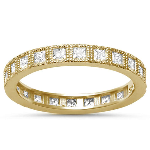 Yellow Gold Plated Princess Cut Eternity Stackable Band .925 Sterling Silver Ring Sizes 4-10