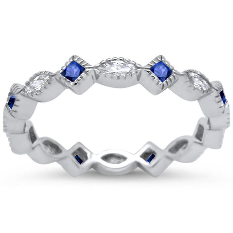 <span>CLOSEOUT!</span> Antique Style Blue Sappire & Cz Eternity Band .925 Sterling Silver Ring Sizes 5-10