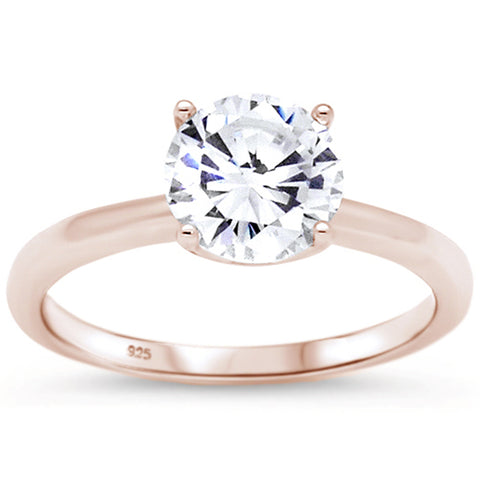 Rose Gold Plated Engagement Solitaire .925 Sterling Silver Ring Sizes 5-10