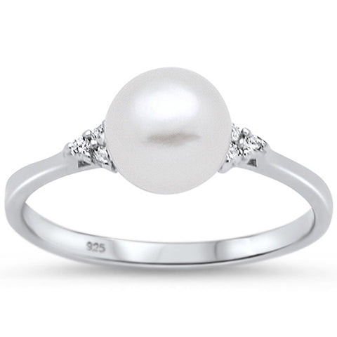 Fresh Water Pearl & Cz  .925 Sterling Silver Ring Sizes 4-10