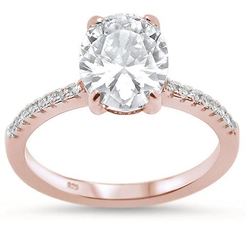 Rose Gold Plated Oval Cut Cubic Zirconia Engagement .925 Sterling Silver Ring Sizes 5-10