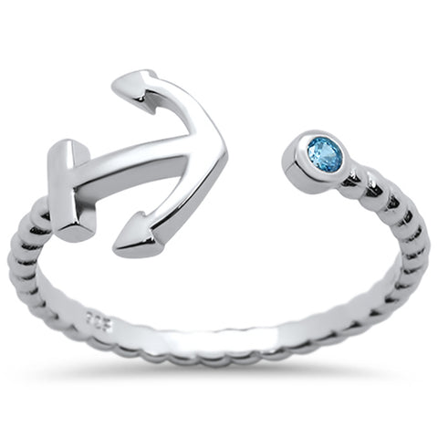 Blue Topaz Bezel Anchor Wraparound Design .925 Sterling Silver Ring Sizes 5-10