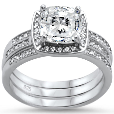Cushion Cut Three Piece Engagement .925 Sterling Silver Ring Set Sizes 6-8