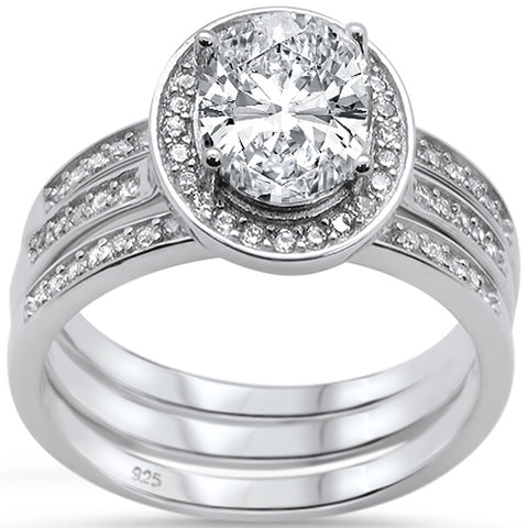 Oval Three Piece Engagement .925 Sterling Silver Bridal Ring Set Sizes 6-8