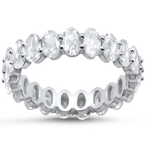 Oval Cubic Zirconia .925 Sterling Silver Eternity Band Ring Sizes 5-10